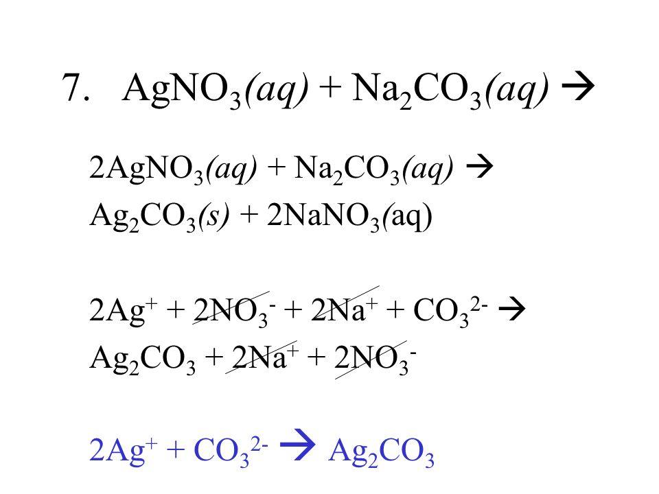 7. AgNO 3 (aq) + Na 2 CO 3 (aq) 2AgNO 3 (aq) + Na 2 CO 3 (aq) Ag 2 CO 3 (s) + 2NaNO 3 (aq) 2Ag + + 2NO 3 - + 2Na + + CO 3 2- Ag 2 CO 3 + 2Na + + 2NO 3