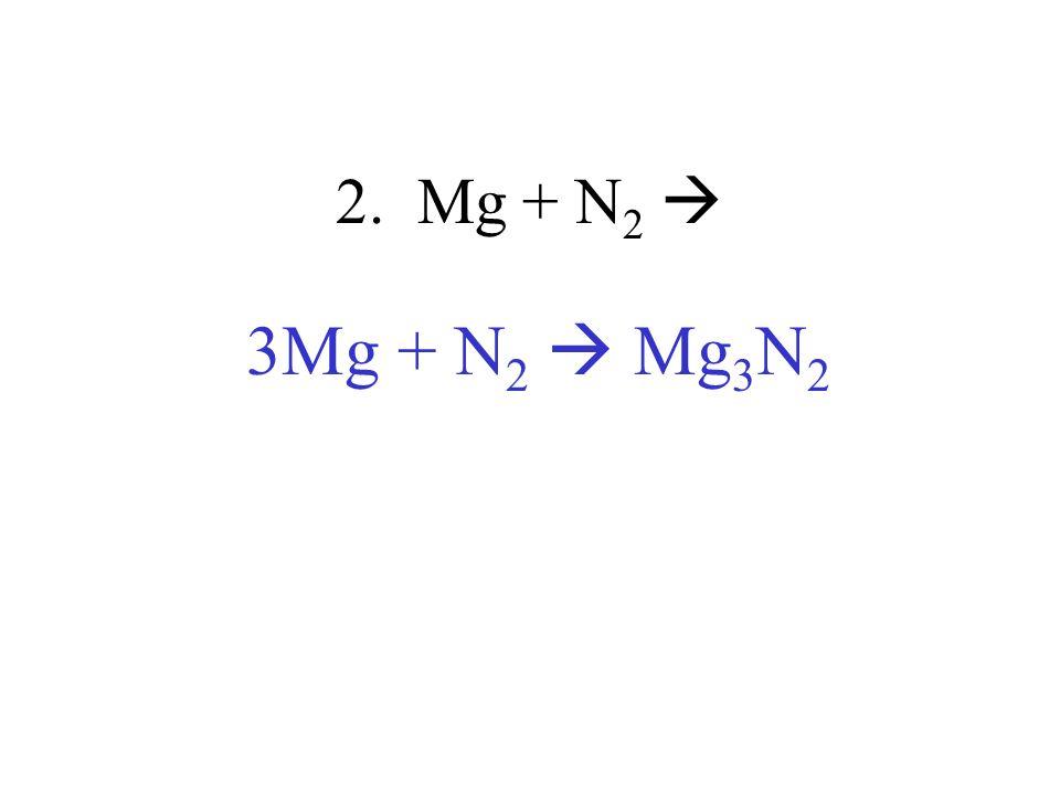 2. Mg + N 2 3Mg + N 2 Mg 3 N 2