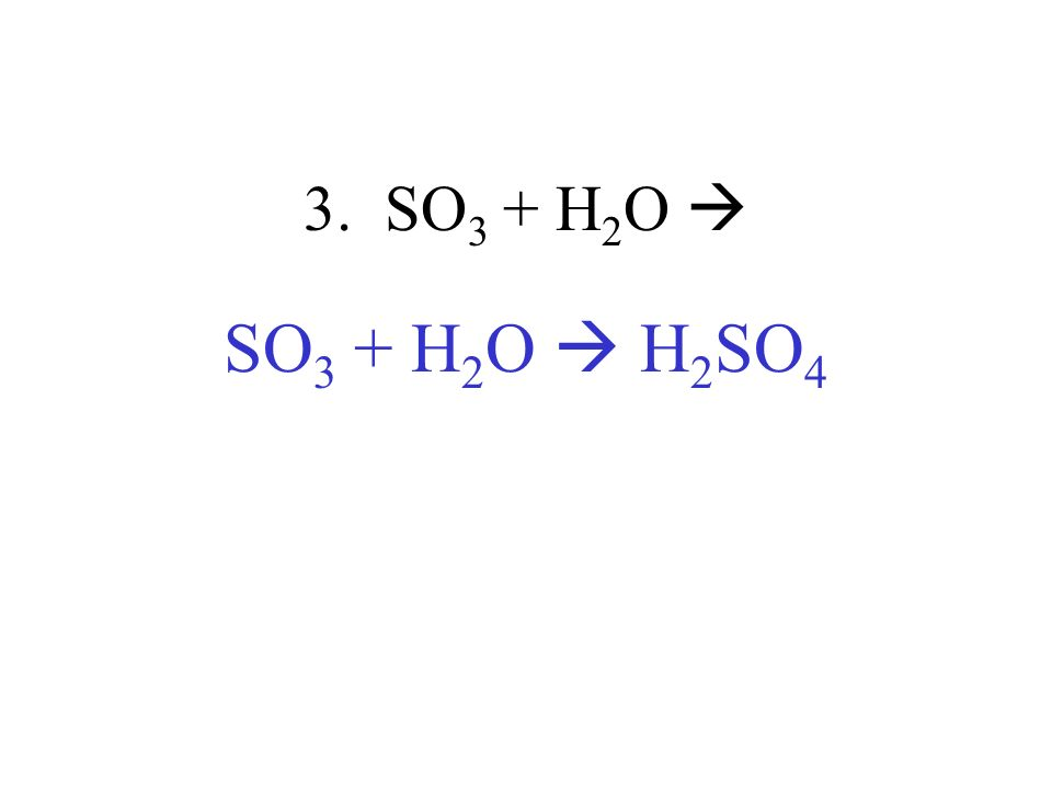 3. SO 3 + H 2 O SO 3 + H 2 O H 2 SO 4