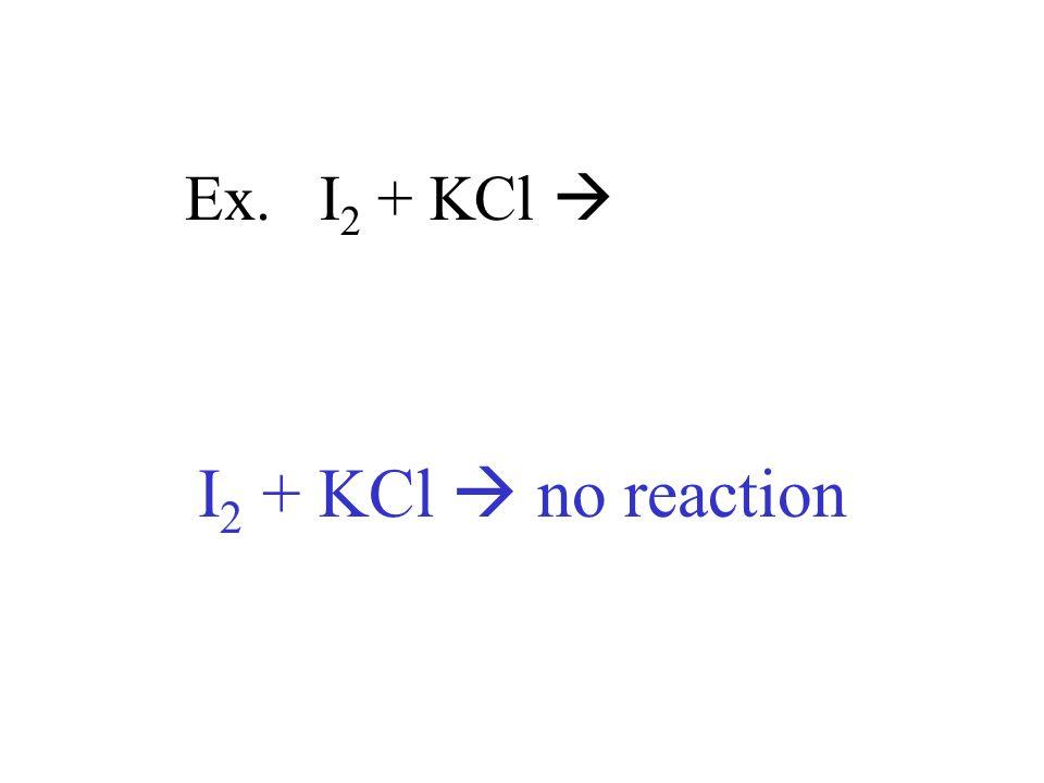 Ex. I 2 + KCl I 2 + KCl no reaction