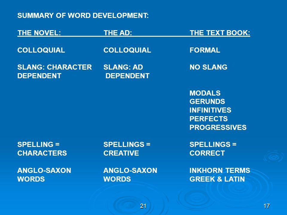 2117 SUMMARY OF WORD DEVELOPMENT: THE NOVEL:THE AD:THE TEXT BOOK: COLLOQUIALCOLLOQUIALFORMAL SLANG: CHARACTERSLANG: AD NO SLANG DEPENDENT MODALS GERUN