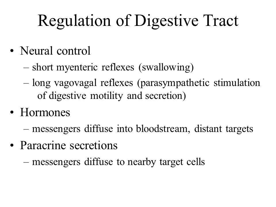 Regulation of Digestive Tract Neural control –short myenteric reflexes (swallowing) –long vagovagal reflexes (parasympathetic stimulation of digestive