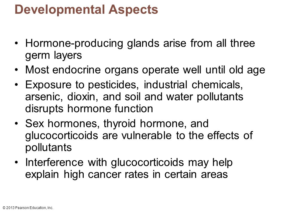 © 2013 Pearson Education, Inc. Developmental Aspects Hormone-producing glands arise from all three germ layers Most endocrine organs operate well unti
