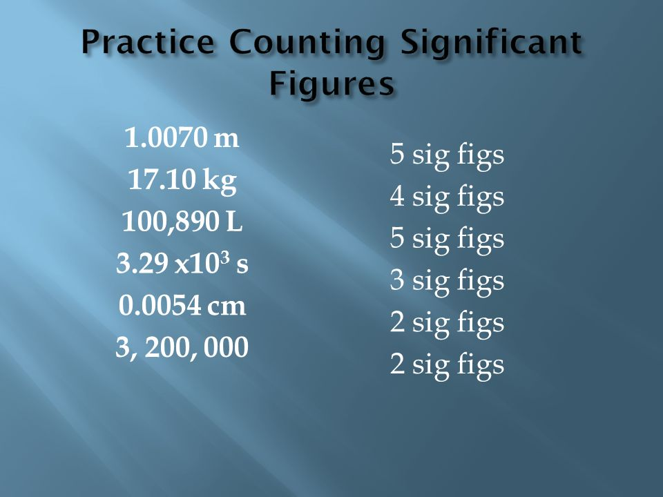 1.0070 m 17.10 kg 100,890 L 3.29 x10 3 s 0.0054 cm 3, 200, 000 5 sig figs 4 sig figs 5 sig figs 3 sig figs 2 sig figs