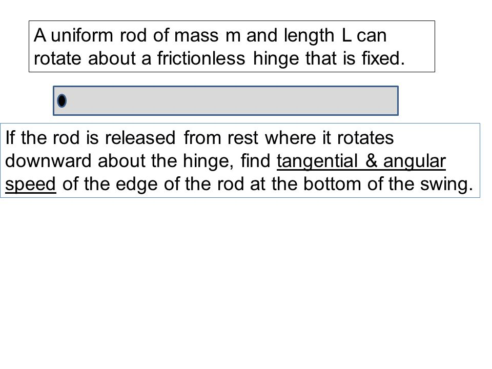 A uniform rod of mass m and length L can rotate about a frictionless hinge that is fixed. If the rod is released from rest where it rotates downward a