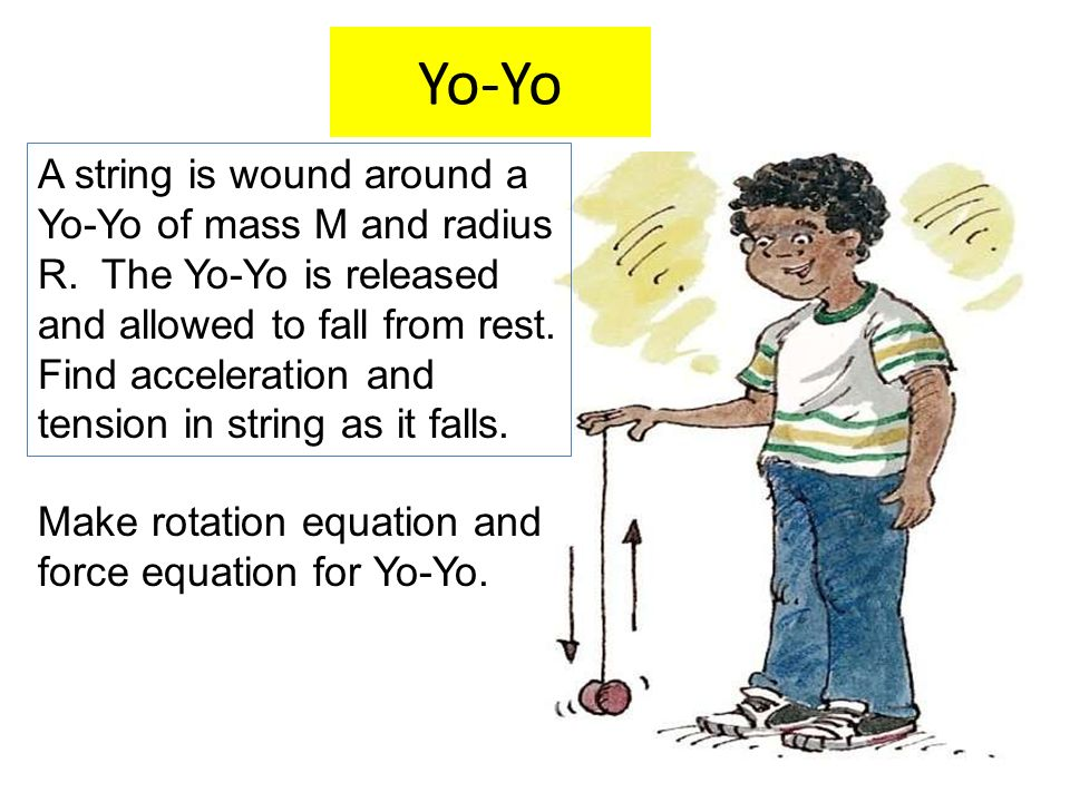 Yo-Yo A string is wound around a Yo-Yo of mass M and radius R. The Yo-Yo is released and allowed to fall from rest. Find acceleration and tension in s