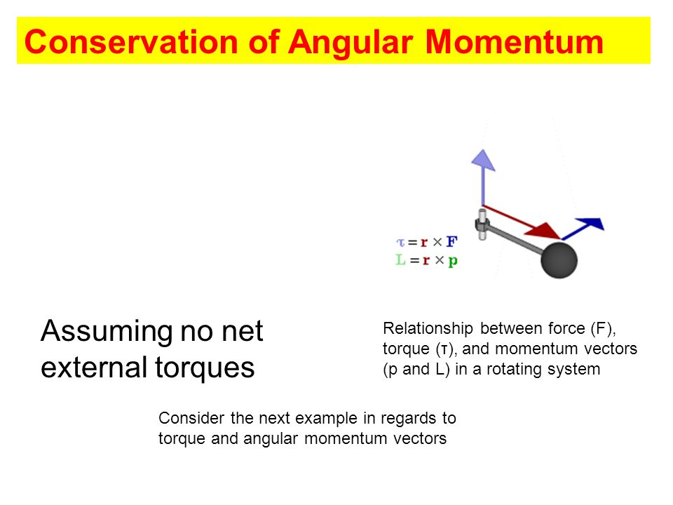 Conservation of Angular Momentum Assuming no net external torques Relationship between force (F), torque (τ), and momentum vectors (p and L) in a rota