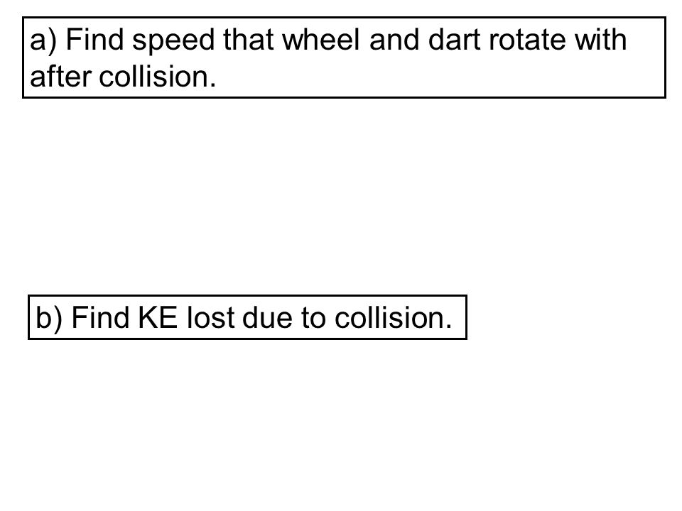 a) Find speed that wheel and dart rotate with after collision. b) Find KE lost due to collision.