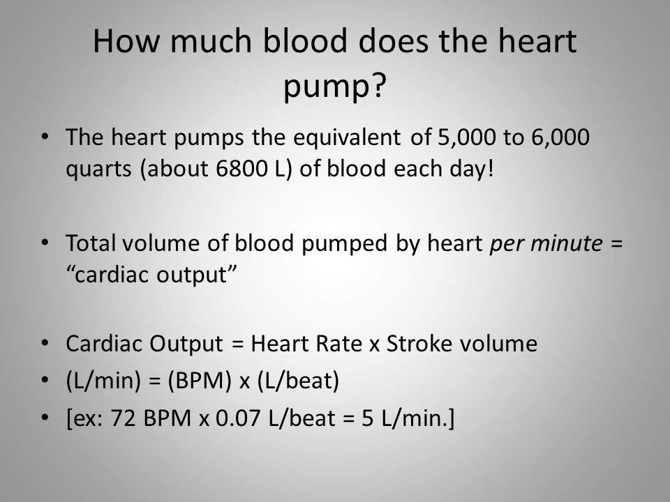 How much blood does the heart pump? The heart pumps the equivalent of 5,000 to 6,000 quarts (about 6800 L) of blood each day! Total volume of blood pu