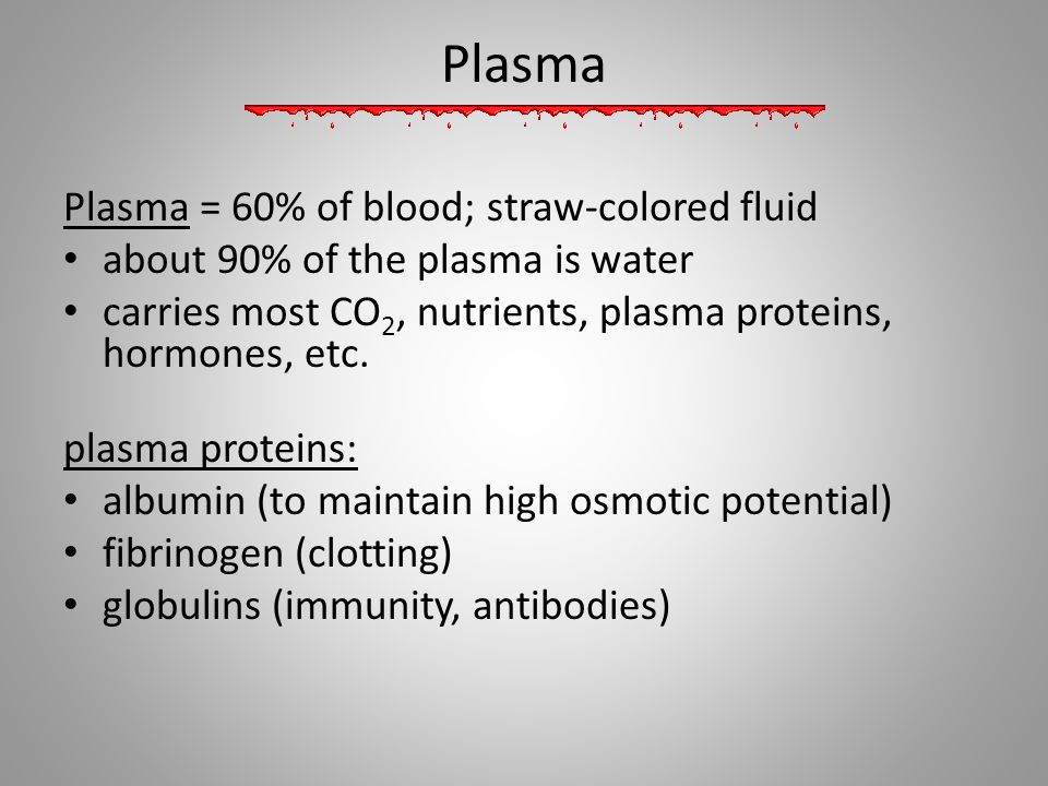 Plasma Plasma = 60% of blood; straw-colored fluid about 90% of the plasma is water carries most CO 2, nutrients, plasma proteins, hormones, etc. plasm