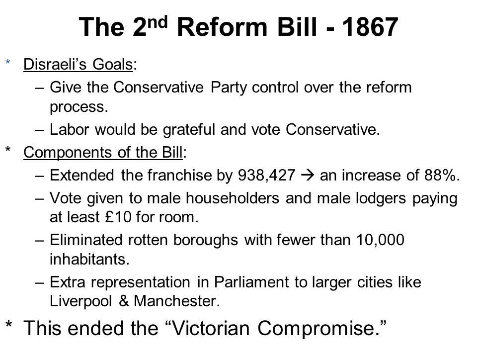 * Disraelis Goals: –Give the Conservative Party control over the reform process. –Labor would be grateful and vote Conservative. *Components of the Bi