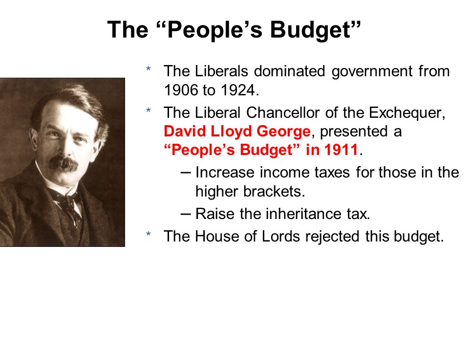 * The Liberals dominated government from 1906 to 1924. * The Liberal Chancellor of the Exchequer, David Lloyd George, presented a Peoples Budget in 19