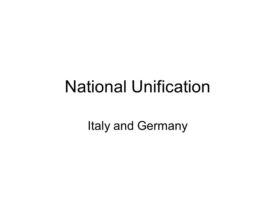 National Unification Italy and Germany