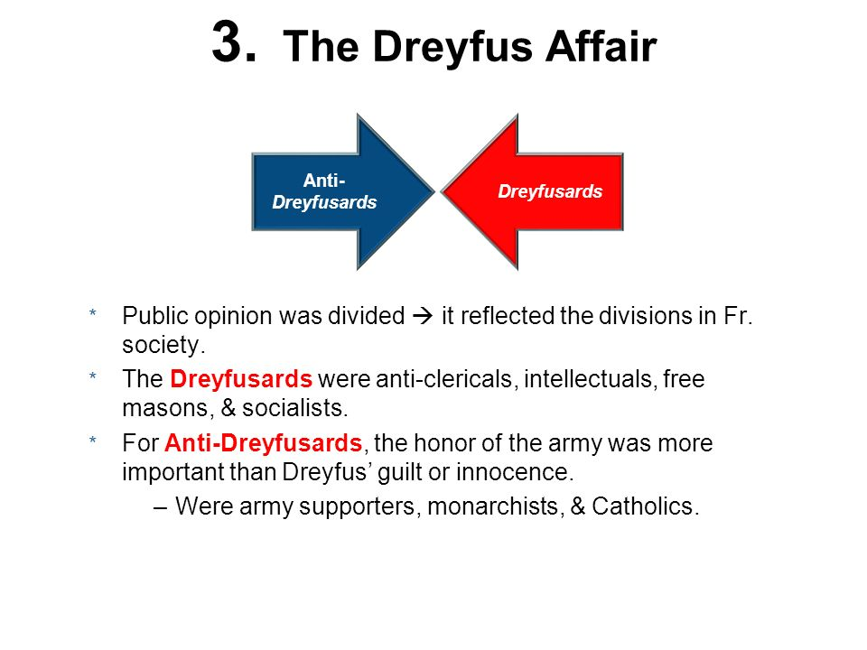 3. The Dreyfus Affair Dreyfusards Anti- Dreyfusards * Public opinion was divided it reflected the divisions in Fr. society. * The Dreyfusards were ant