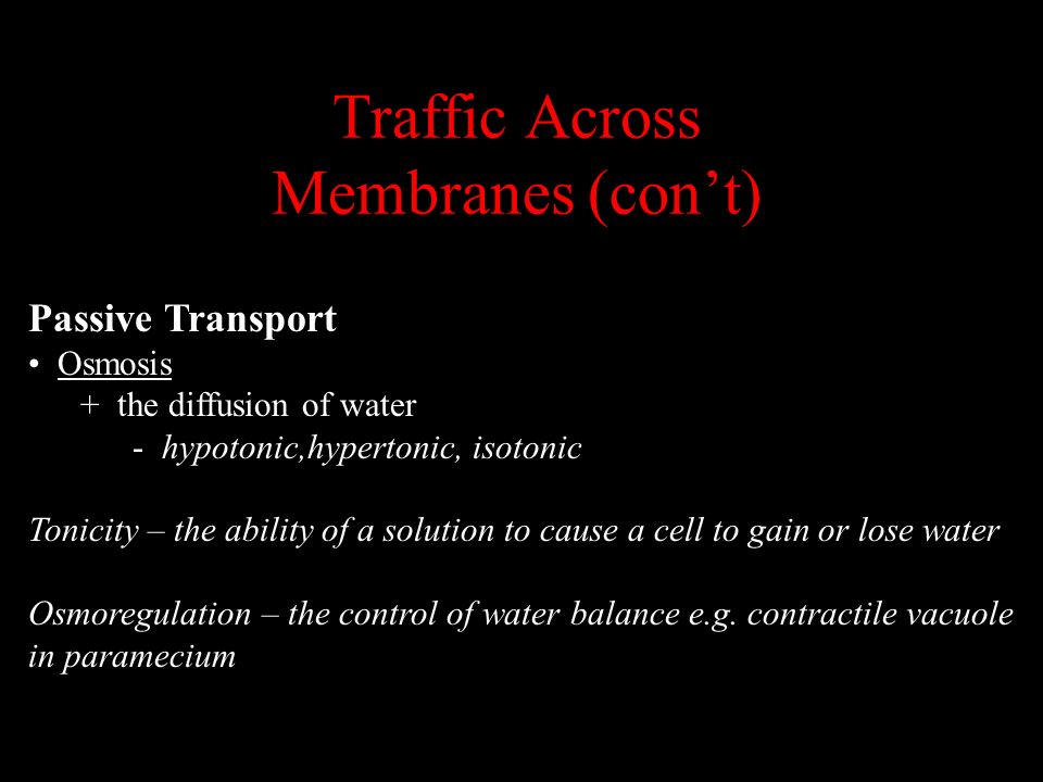 Traffic Across Membranes (cont) Passive Transport Osmosis + the diffusion of water - hypotonic,hypertonic, isotonic Tonicity – the ability of a soluti