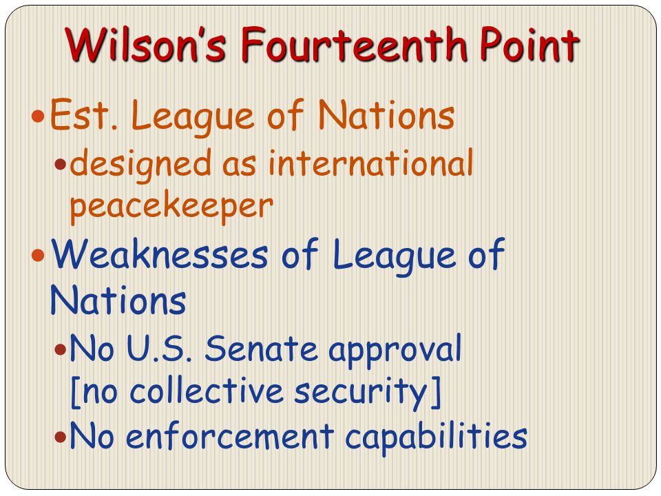 Wilsons Fourteenth Point Est.