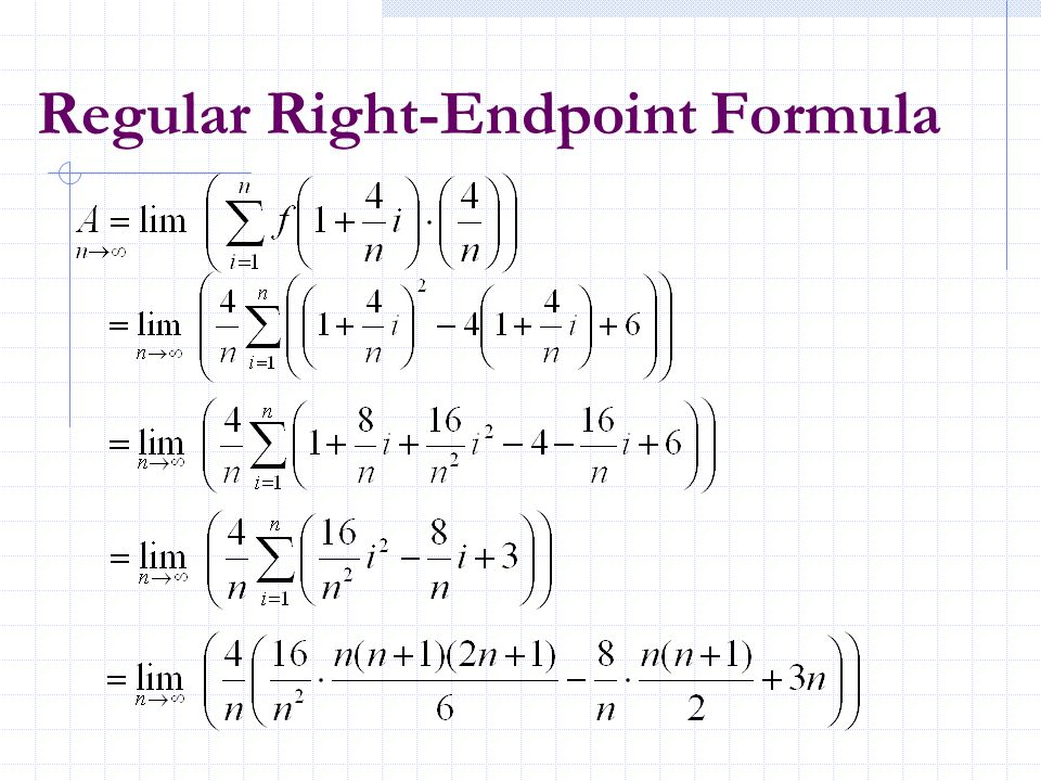 Regular Right-Endpoint Formula