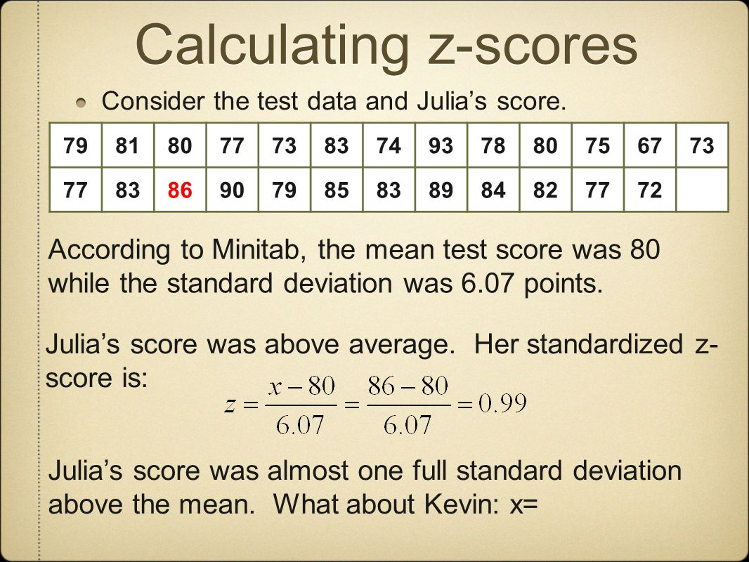 Calculating z-scores Consider the test data and Julias score.