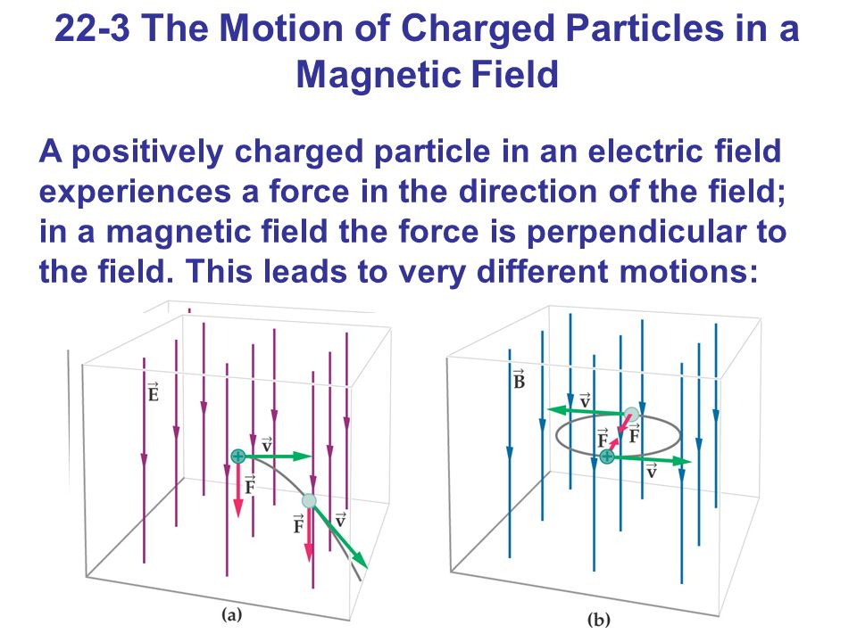 22-3 The Motion of Charged Particles in a Magnetic Field A positively charged particle in an electric field experiences a force in the direction of th