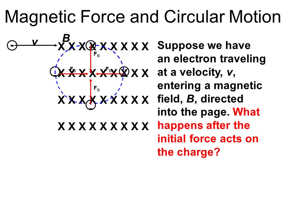 Magnetic Force and Circular Motion X X X X X X X X X v B - - FBFB FBFB FBFB FBFB - - - Suppose we have an electron traveling at a velocity, v, enterin