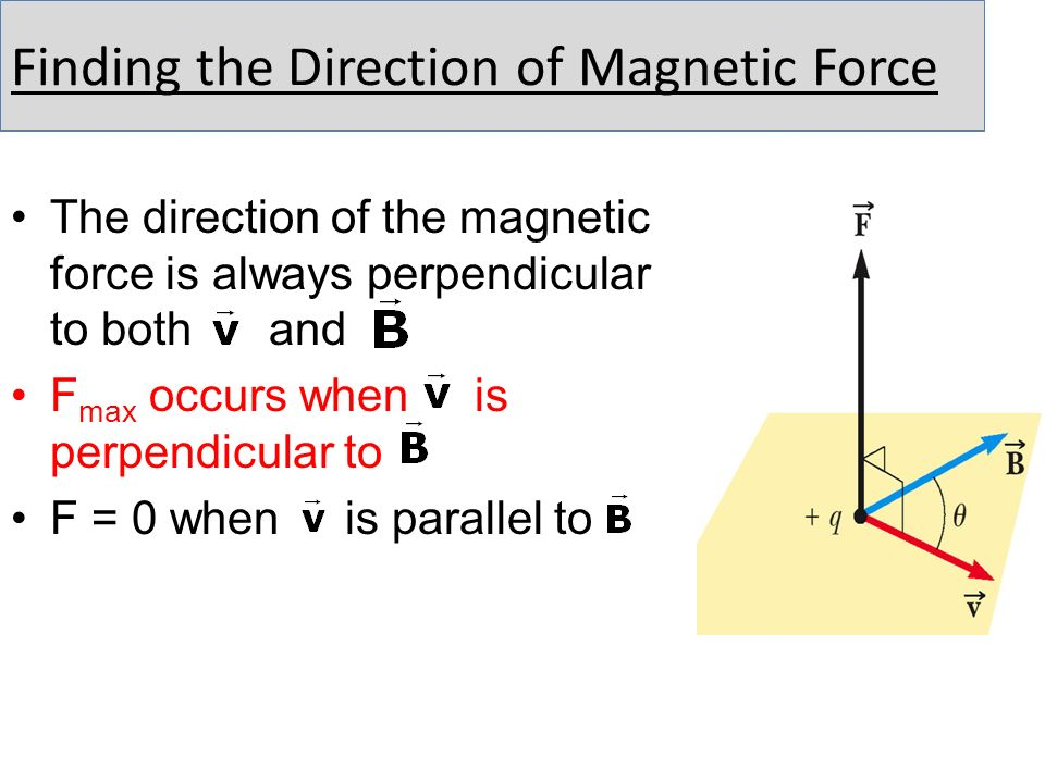 Finding the Direction of Magnetic Force The direction of the magnetic force is always perpendicular to both and F max occurs when is perpendicular to