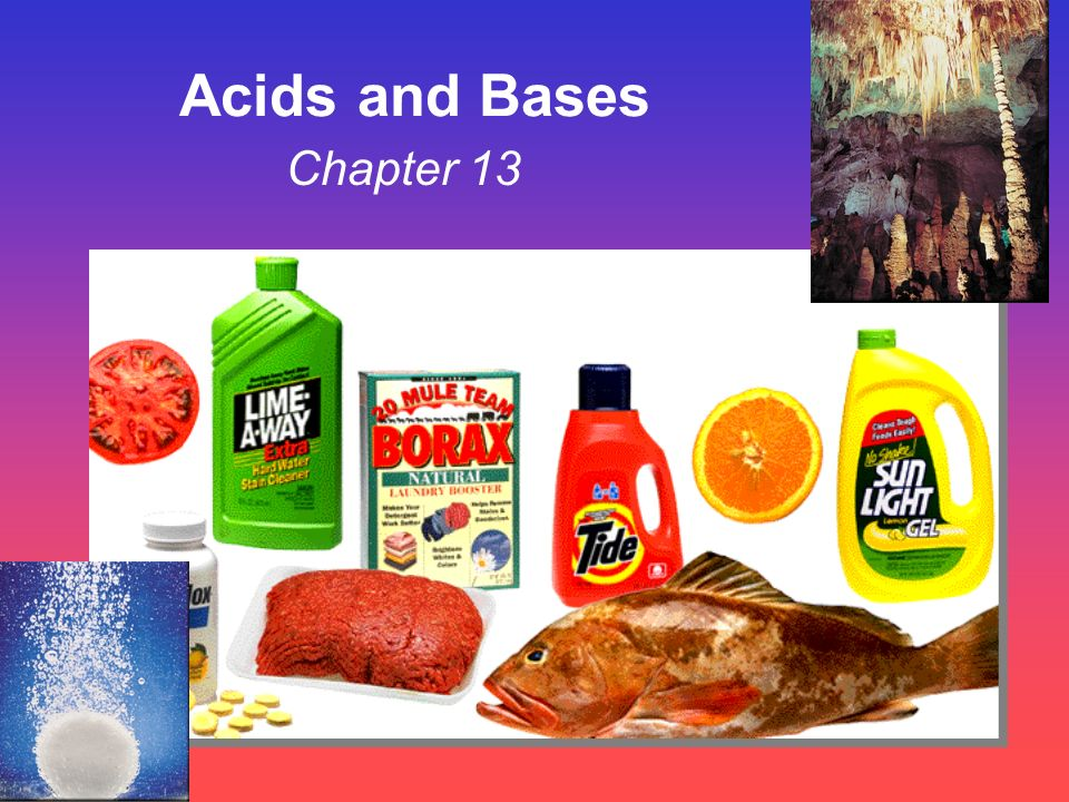 Some Properties of Acids þ Produce H + (as H 3 O + ) ions in water (the hydronium ion is a hydrogen ion attached to a water molecule) þ Taste sour þ Corrode metals þ Electrolytes þ React with bases to form a salt and water þ pH is less than 7 þ Turns blue litmus paper to red Blue to Red A-CID
