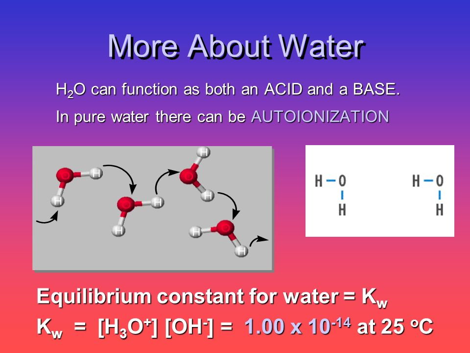 More About Water H 2 O can function as both an ACID and a BASE. In pure water there can be AUTOIONIZATION Equilibrium constant for water = K w K w = [