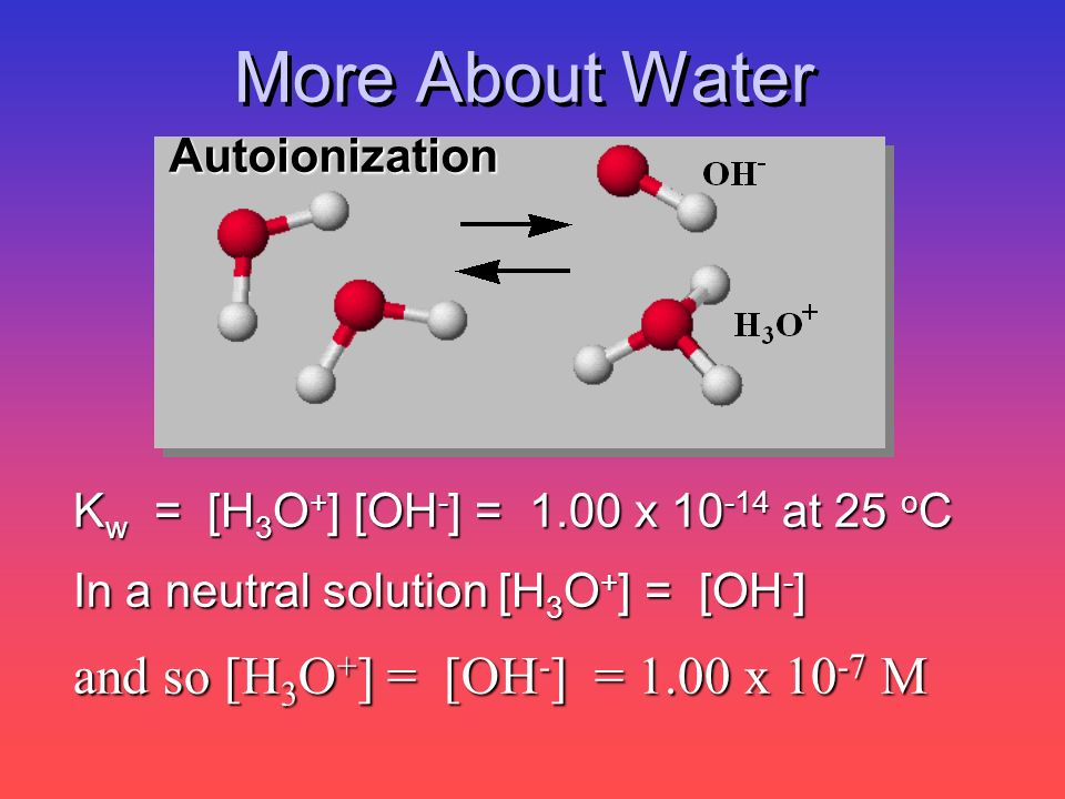 More About Water K w = [H 3 O + ] [OH - ] = 1.00 x 10 -14 at 25 o C In a neutral solution [H 3 O + ] = [OH - ] and so [H 3 O + ] = [OH - ] = 1.00 x 10