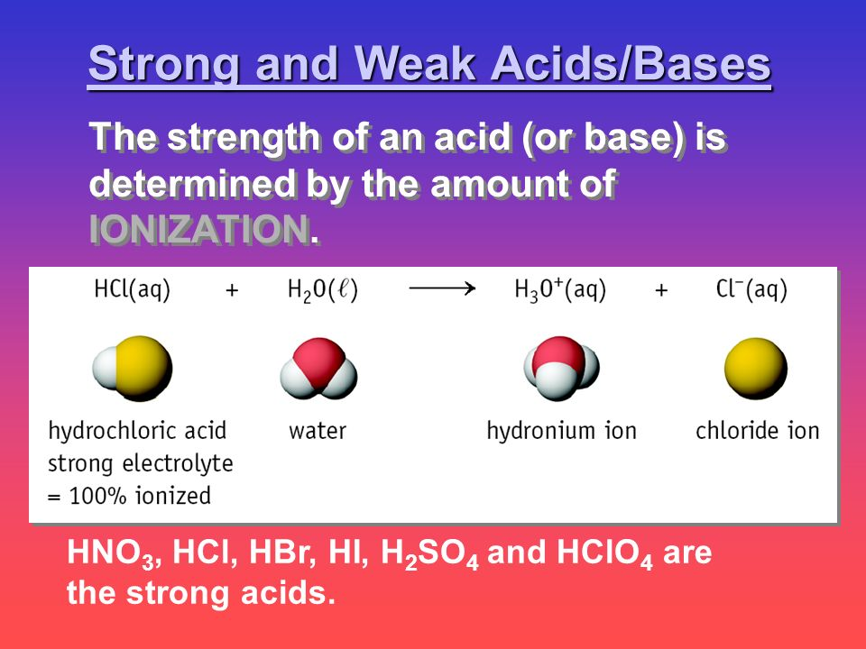 HNO 3, HCl, HBr, HI, H 2 SO 4 and HClO 4 are the strong acids. Strong and Weak Acids/Bases The strength of an acid (or base) is determined by the amou