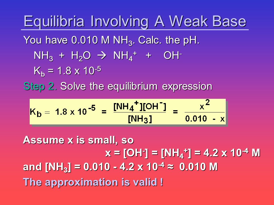 Equilibria Involving A Weak Base You have 0.010 M NH 3. Calc. the pH. NH 3 + H 2 O NH 4 + + OH - NH 3 + H 2 O NH 4 + + OH - K b = 1.8 x 10 -5 Step 2.