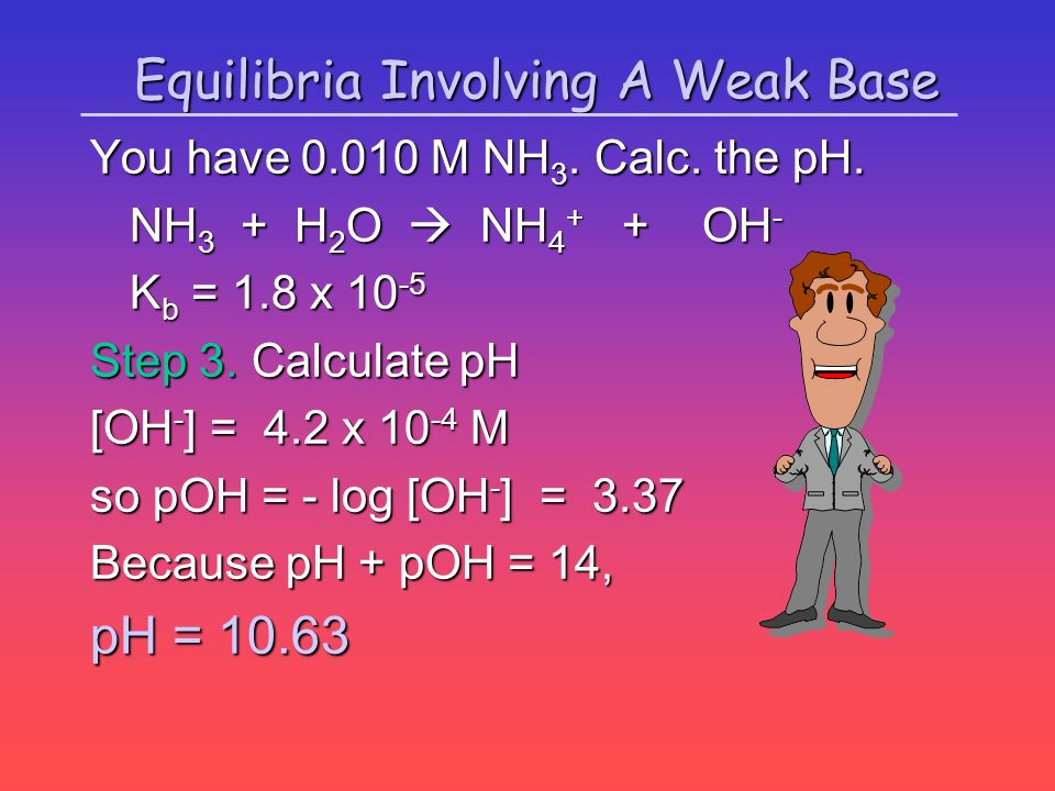 Equilibria Involving A Weak Base You have 0.010 M NH 3. Calc. the pH. NH 3 + H 2 O NH 4 + + OH - NH 3 + H 2 O NH 4 + + OH - K b = 1.8 x 10 -5 Step 3.