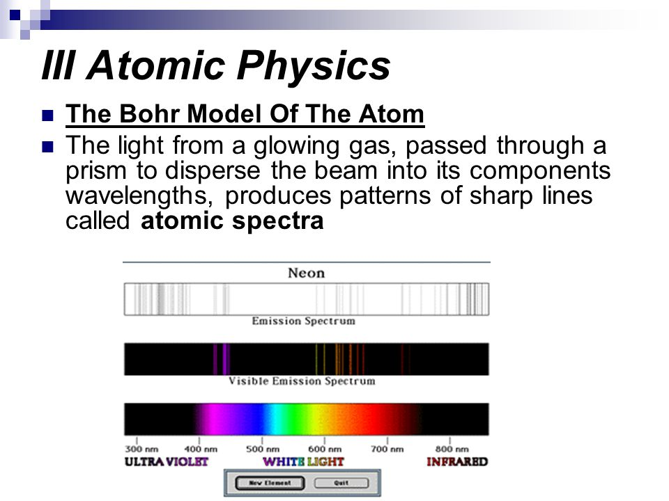 III Atomic Physics The Bohr Model Of The Atom The light from a glowing gas, passed through a prism to disperse the beam into its components wavelength