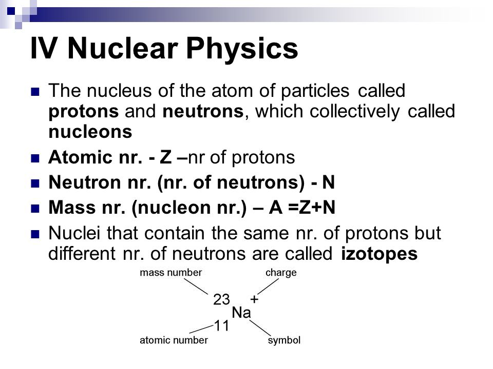 IV Nuclear Physics The nucleus of the atom of particles called protons and neutrons, which collectively called nucleons Atomic nr. - Z –nr of protons