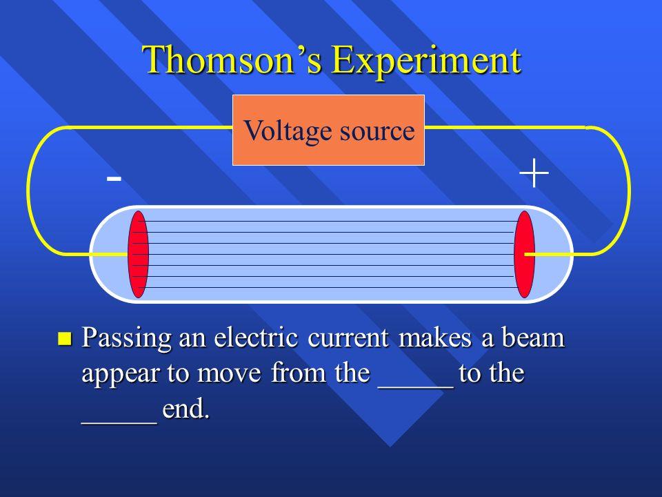 Thomsons Experiment Voltage source +-