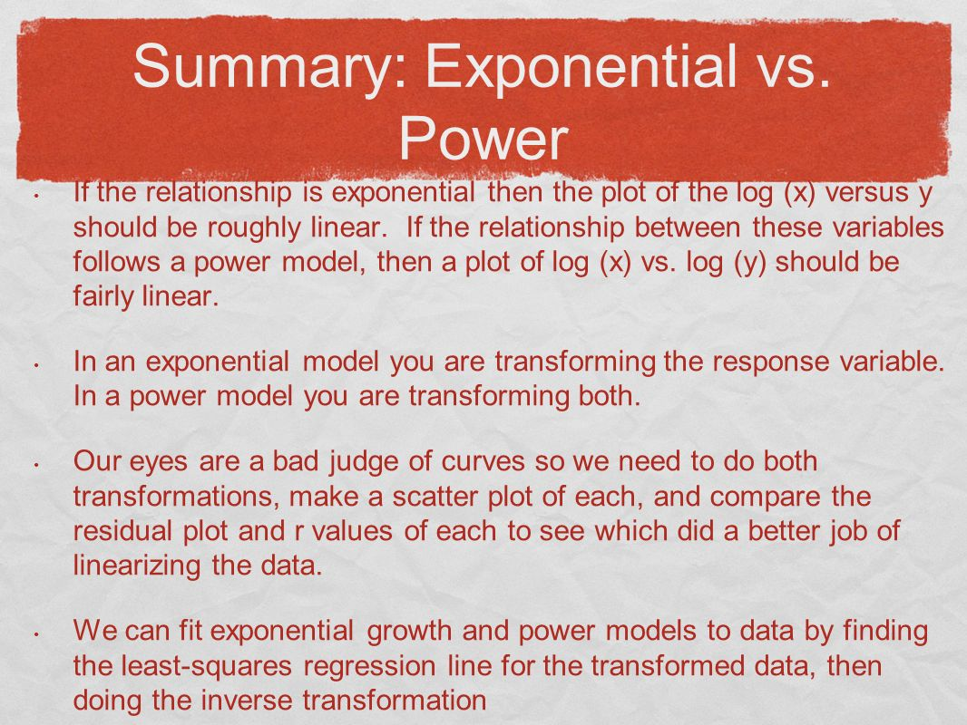 Summary: Exponential vs.