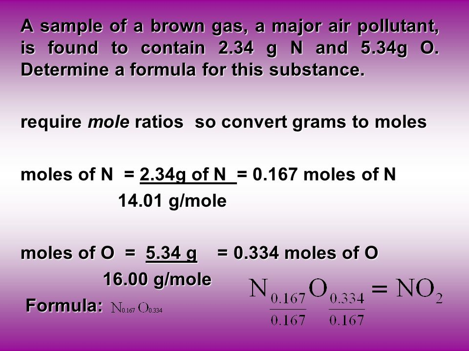 A sample of a brown gas, a major air pollutant, is found to contain 2.34 g N and 5.34g O.