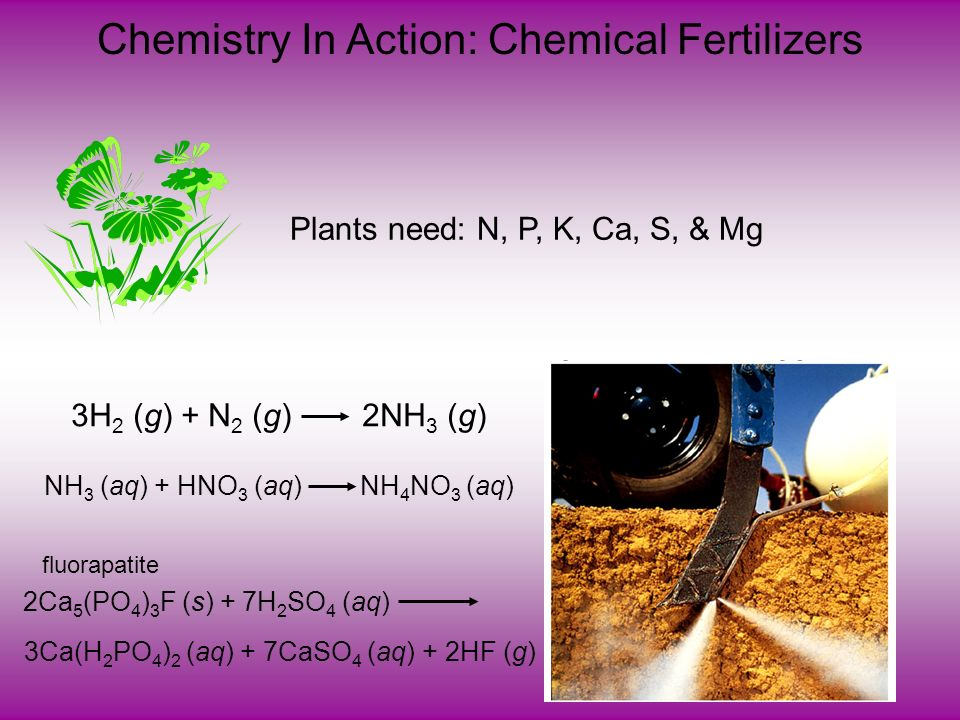 Chemistry In Action: Chemical Fertilizers Plants need: N, P, K, Ca, S, & Mg 3H 2 (g) + N 2 (g) 2NH 3 (g) NH 3 (aq) + HNO 3 (aq) NH 4 NO 3 (aq) 2Ca 5 (PO 4 ) 3 F (s) + 7H 2 SO 4 (aq) 3Ca(H 2 PO 4 ) 2 (aq) + 7CaSO 4 (aq) + 2HF (g) fluorapatite