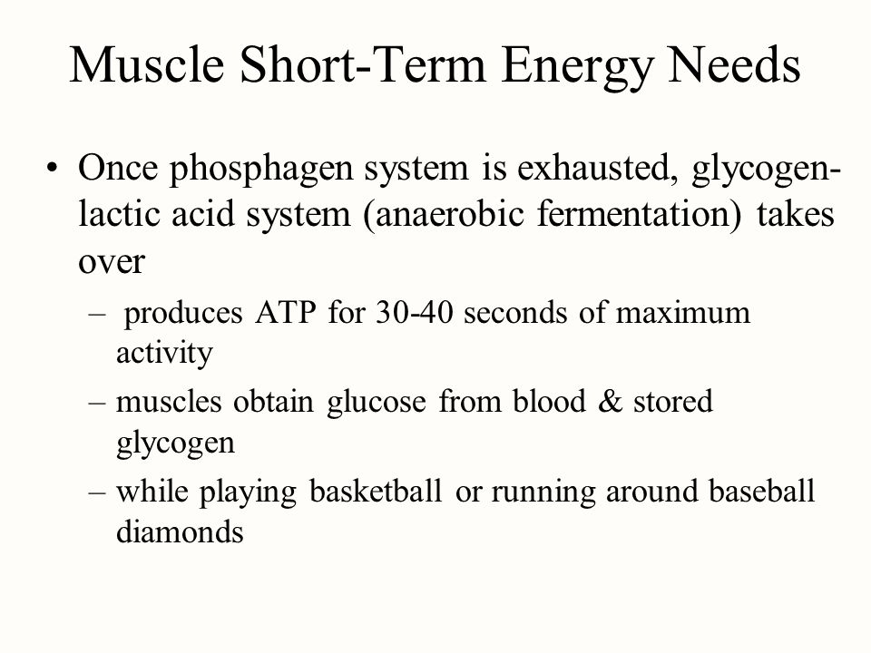 Muscle Short-Term Energy Needs Once phosphagen system is exhausted, glycogen- lactic acid system (anaerobic fermentation) takes over – produces ATP fo