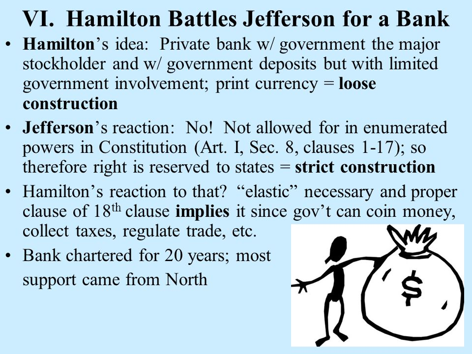VI. Hamilton Battles Jefferson for a Bank Hamiltons idea: Private bank w/ government the major stockholder and w/ government deposits but with limited