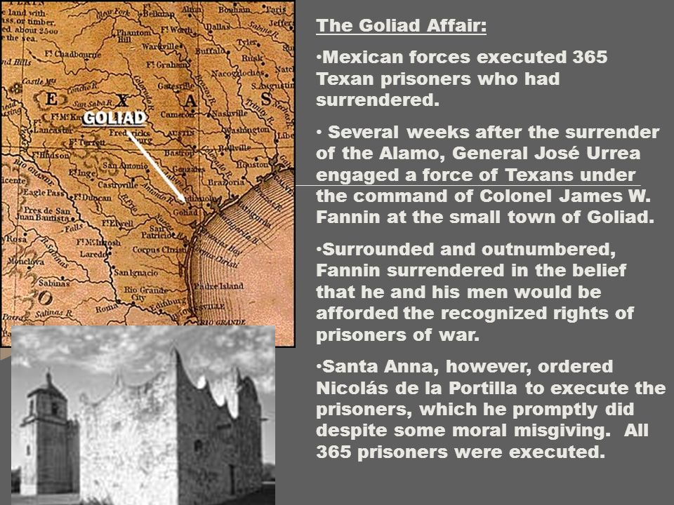 The Goliad Affair: Mexican forces executed 365 Texan prisoners who had surrendered. Several weeks after the surrender of the Alamo, General José Urrea