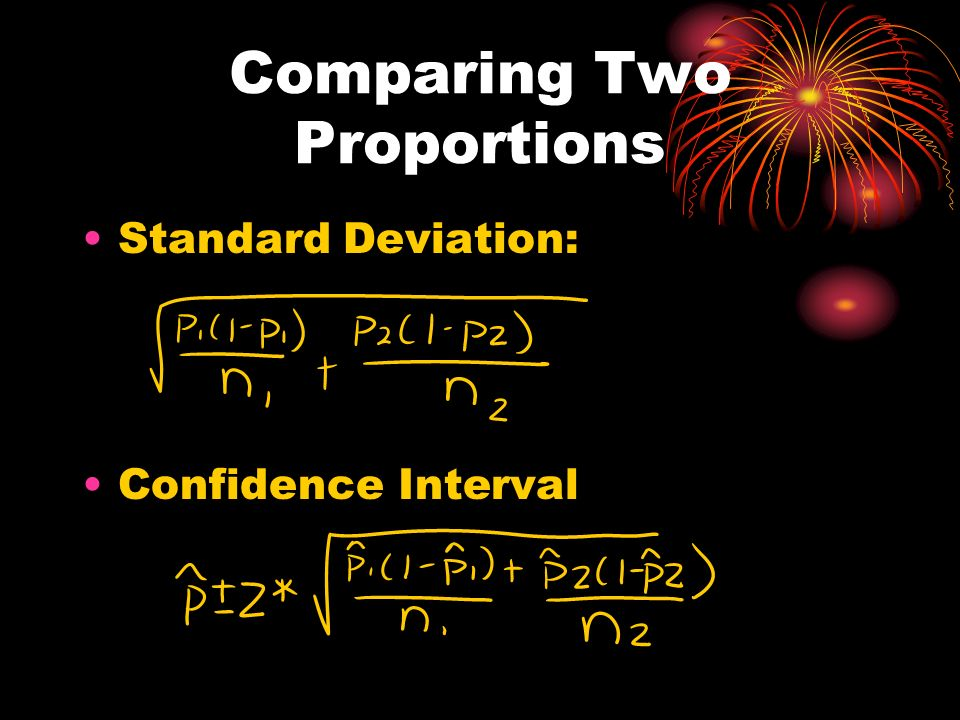 Comparing Two Proportions Standard Deviation: Confidence Interval
