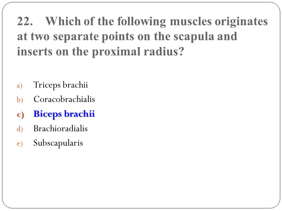 22.Which of the following muscles originates at two separate points on the scapula and inserts on the proximal radius? a) Triceps brachii b) Coracobra