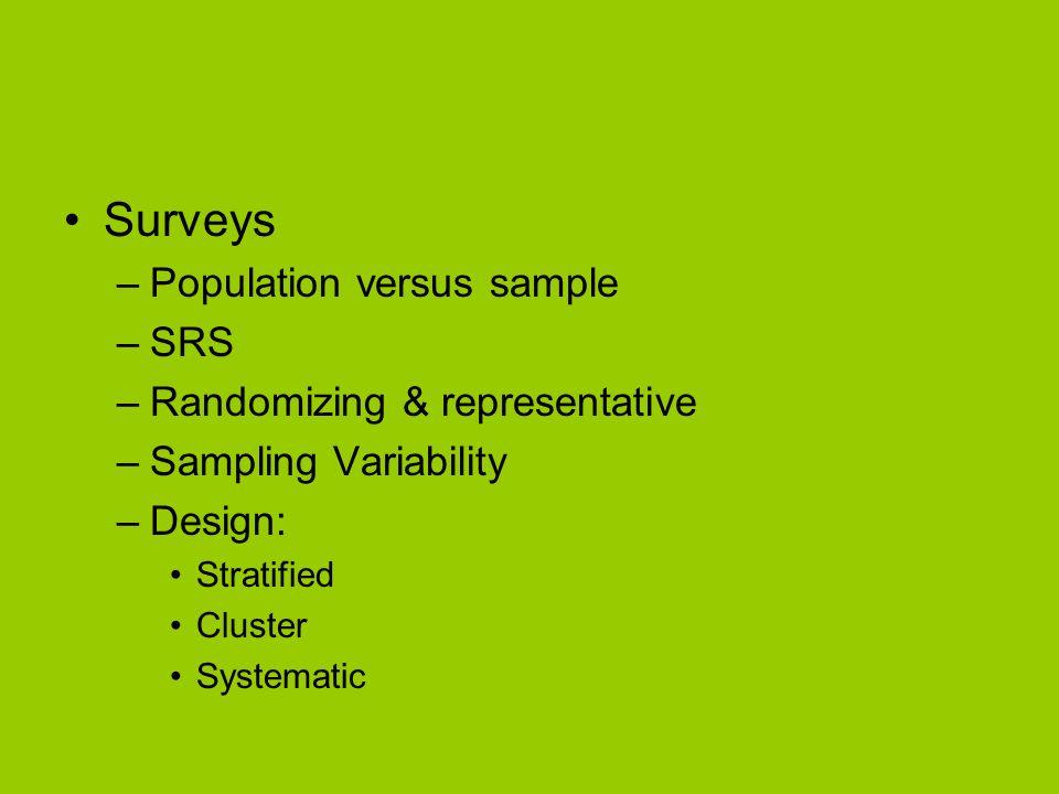 Surveys –Population versus sample –SRS –Randomizing & representative –Sampling Variability –Design: Stratified Cluster Systematic