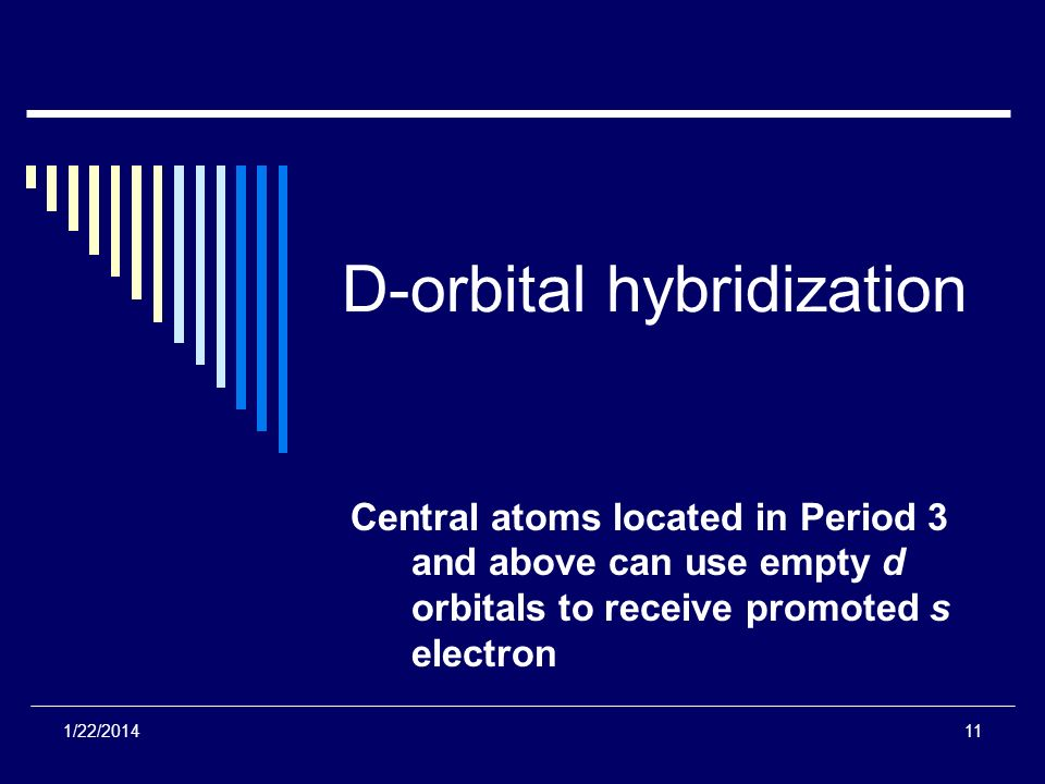 D-orbital hybridization Central atoms located in Period 3 and above can use empty d orbitals to receive promoted s electron 1/22/201411