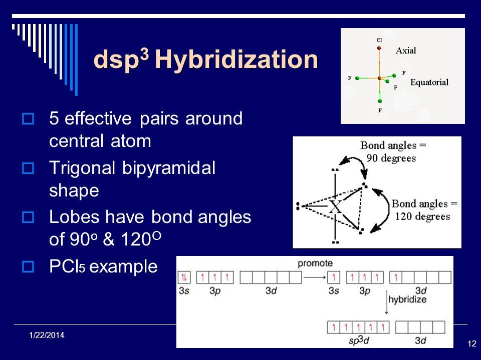 12 1/22/2014 dsp 3 Hybridization 5 effective pairs around central atom Trigonal bipyramidal shape Lobes have bond angles of 90 o & 120 O PCl 5 example