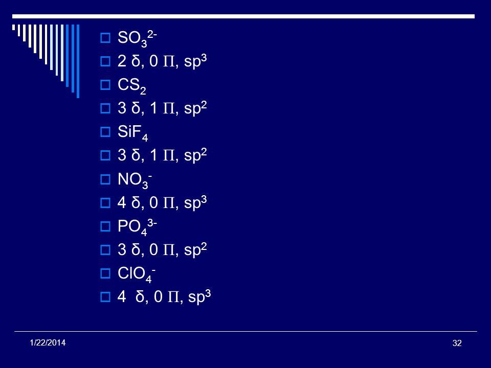 32 1/22/2014 SO 3 2- 2 δ, 0 Π, sp 3 CS 2 3 δ, 1 Π, sp 2 SiF 4 3 δ, 1 Π, sp 2 NO 3 - 4 δ, 0 Π, sp 3 PO 4 3- 3 δ, 0 Π, sp 2 ClO 4 - 4 δ, 0 Π, sp 3