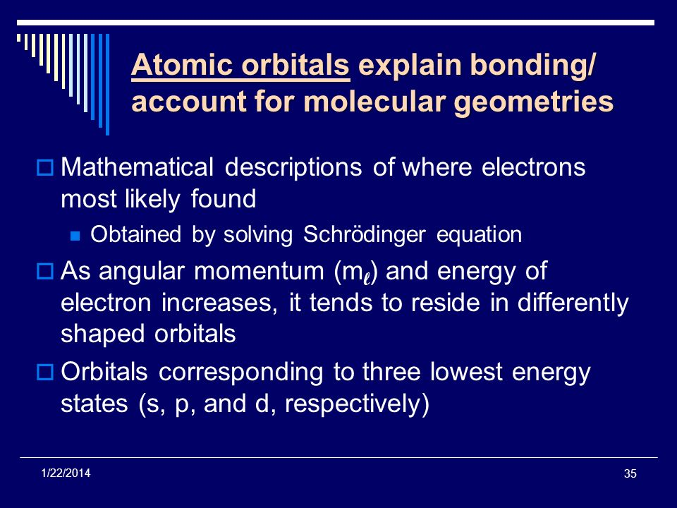 35 1/22/2014 Atomic orbitals explain bonding/ account for molecular geometries Mathematical descriptions of where electrons most likely found Obtained