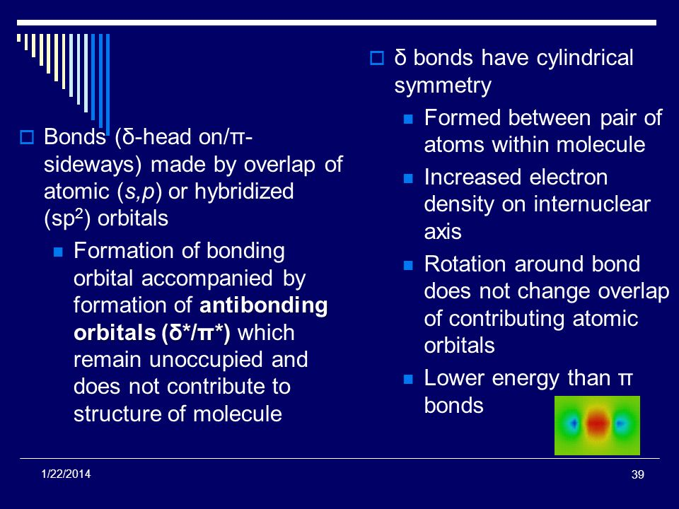 Bonds (δ-head on/π- sideways) made by overlap of atomic (s,p) or hybridized (sp 2 ) orbitals antibonding orbitals (δ*/π*) Formation of bonding orbital