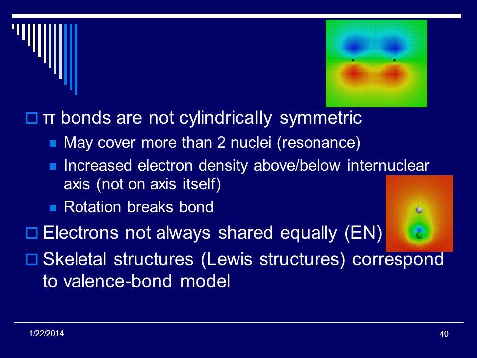 π bonds are not cylindrically symmetric May cover more than 2 nuclei (resonance) Increased electron density above/below internuclear axis (not on axis