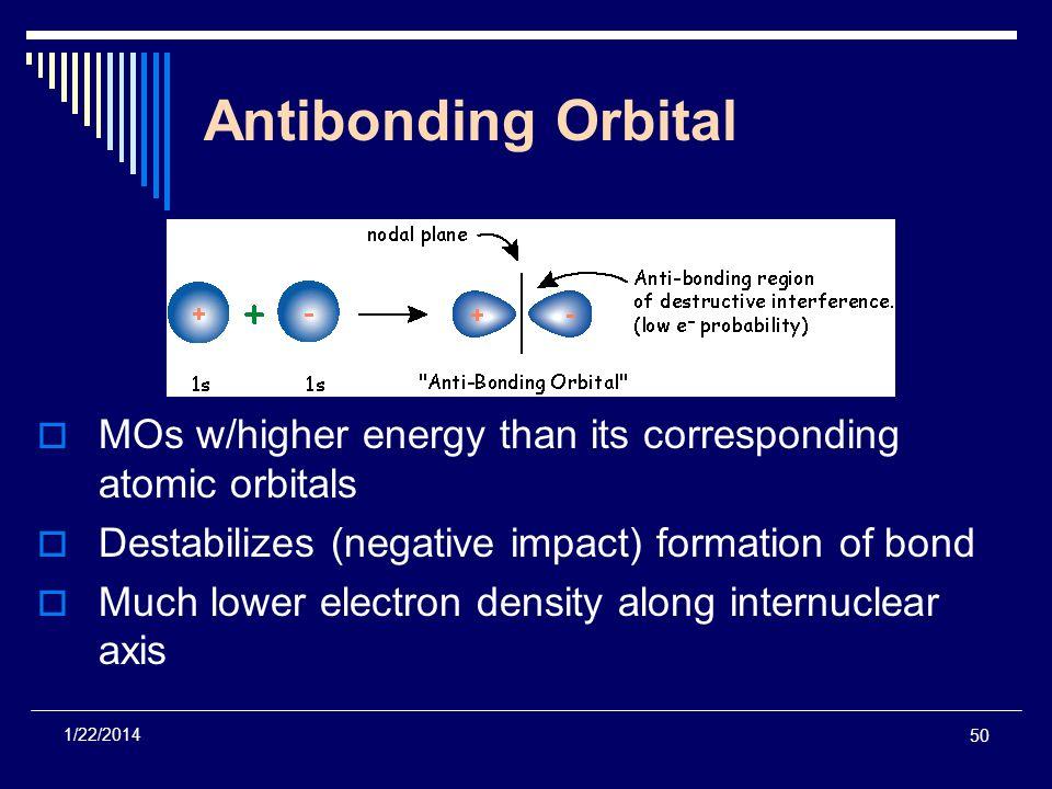 50 1/22/2014 Antibonding Orbital MOs w/higher energy than its corresponding atomic orbitals Destabilizes (negative impact) formation of bond Much lowe